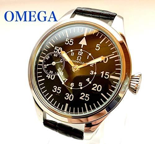 交渉OH済OMEGAオメガ手巻き機械式メンズ腕時計アンティーク動作絶好調ミリタリー黒パイロット48mm懐中時計ビンテージ