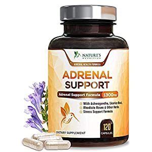 Adrenal Support and Stress Support 1300mg – Extra Strength Stress Support and Adrenal Fatigue Support Supplement…