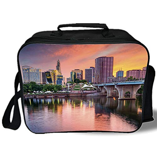 Insulated Lunch Bag,United States,Water Reflection in Evening Urban City Hartford Connecticut Tranquil Sunset Decorative,Multicolor,for Work/School/Picnic, Grey ()