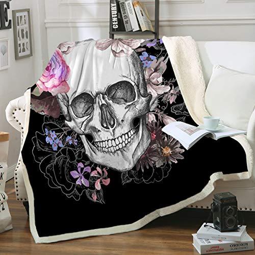 "Sleepwish Black Sugar Skull Blanket Soft Fleece Throw Blanket Skull Rose Design Gothic Skeleton Sherpa Blanket for Bed Couch Sofa Chair Office (50""x 60"")"