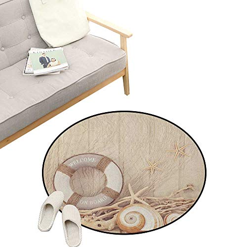 (Coastal Modern Flannel Microfiber ,Welcome On Board Life Buoy Wooden Sepia Fishnet Holiday Maritime Theme Print, Round Rug Living Room Bedroom Decor 39