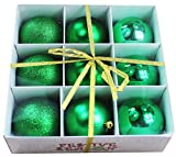 Image of 9pk 80mm Shatterproof All Green Christmas Tree Ornaments