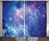 Cheap Space Decor Curtains by Ambesonne, Outer Space Nebula in the Galaxy with Star Clusters Mysterious Astronomy Art Print, Window Drapes 2 Panel Set for Living Room Bedroom, 108 W X 84 L Purple Navy