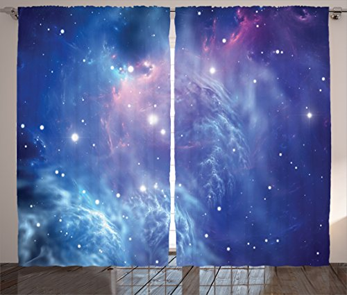 Ambesonne Space Decor Curtains, Outer Space Nebula in The Galaxy with Star Clusters Mysterious Astronomy Art Print, Window Drapes 2 Panel Set for Living Room Bedroom, 108 W X 84 L Purple Navy Review