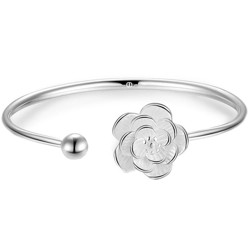 S925 Silver Plated Genuine White cherry blossoms Women Adjustable Bangle Bracelet,7'' 7'' BulingVV BLVV54