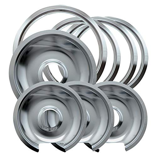 Electric Range Trim Ring - Range Kleen 1056RGE8 Style D Chrome 4 Pack Drip Pans and 4 Pack Trim Rings