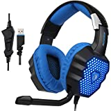 SADES Updated A70 USB Stereo Gaming Headset Over-Ear Headphones with Microphone Volume Control Noise Reduction Breathing LED Lights for PC Gamers(Black)