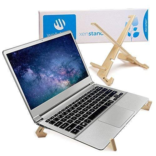 Deluxe Laptop Stand for Desk, Foldable + Adjustable Lap Top Computer & Notebook Stand for Healthy Posture, 3 Height Options for Table, Ventilated All Wood Ergonomic Design, Proudly Made in The USA