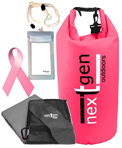 NextGen Outdoor Dry Bag and Microfiber Travel Towel with Waterproof Cell Phone Pouch, PINK PROMISE - Help fight Breast Cancer (Pink Bag, 12.5L)