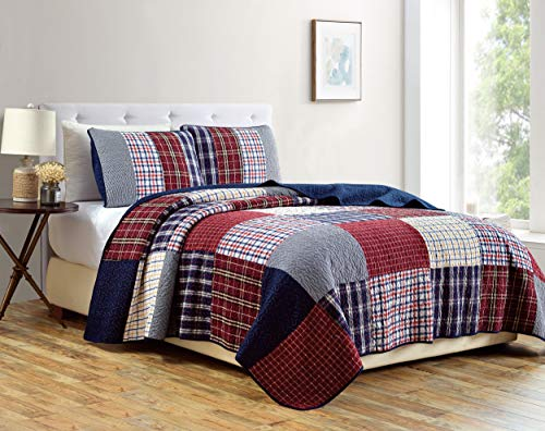 Grizzly 3-Piece Plaid Checkered Patchwork Quilted 100% Washed Cotton Reversible Bedspread Quilt Set, Queen