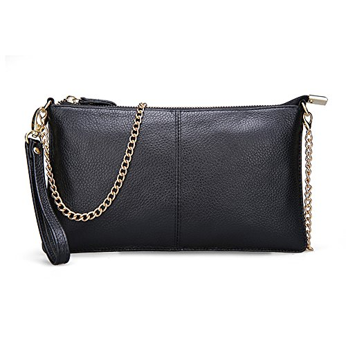 Black Leather Bag Gold Chain - 1