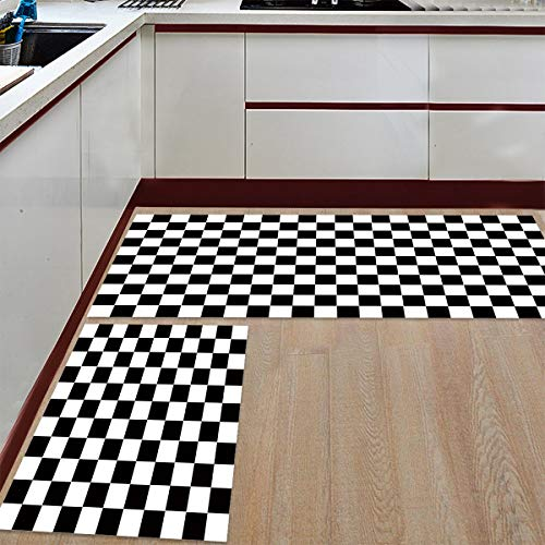 Prime Leader 2 Piece Non-Slip Kitchen Mat Runner Rug Set Doormat Black White Checkered Pattern Door Mats Rubber Backing Carpet Indoor Floor Mat (19.7