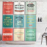 Ambesonne Shower Curtain, Illustration of Uplifting Messages Life Wisdom Art Success Themed Artwork, Cloth Fabric Bathroom Decor Set with Hooks, 75 Inches Long, Red Green