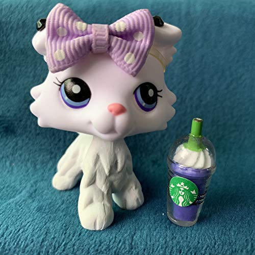 ZFH lps Collie Purple Eyes White Body Draw Pattern Custom Figures Collectalbe Action Cartoon Puppy with lps Accessories
