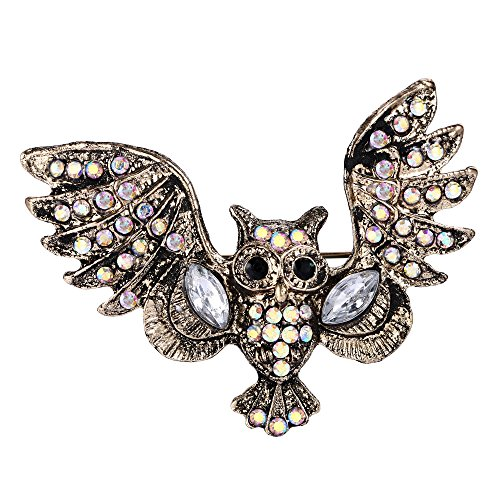 - EVER FAITH Austrian Crystal Vintage Style Art Deco Owl Bird Brooch Pin Iridescent Clear AB Gold-Tone
