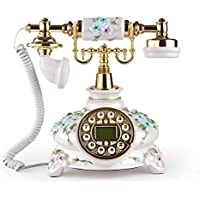 LNC White Flower Retro Vintage Antique Style Push Button Dial Desk Telephone Phone Home Living Room Decor