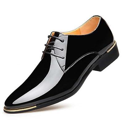Herrenschuhe Frühling Kleid Schuhe Business Bright Schuhe Breathable Britischen Spitzen Hochzeit Schuhe Lederschuhe (Color : Black, Größe : 44) MYI