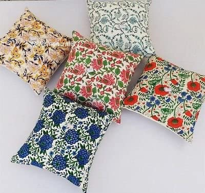 Set Of 5 Pcs Cotton Indian Handmade Cotton Fabric Floral Cushion Cover Floral Pillow Cover