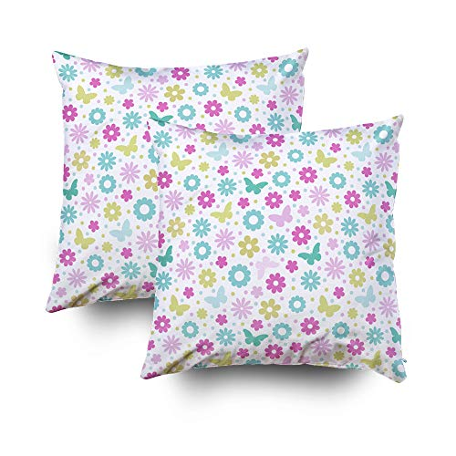 Capsceoll Christmas 2PCS Floral Pattern Colorful Decorative Throw Pillow Case 18X18Inch,Home Decoration Pillowcase Zippered Pillow Covers Cushion Cover with Words for Book Lover Worm Sofa Couch