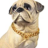 PROSTEEL Stainless Steel Slip Martingale Collars for Dogs Gold Plated Metal Chain Walking Training Pet Necklace Slip Collar Supplies for Small Medium Large Dogs