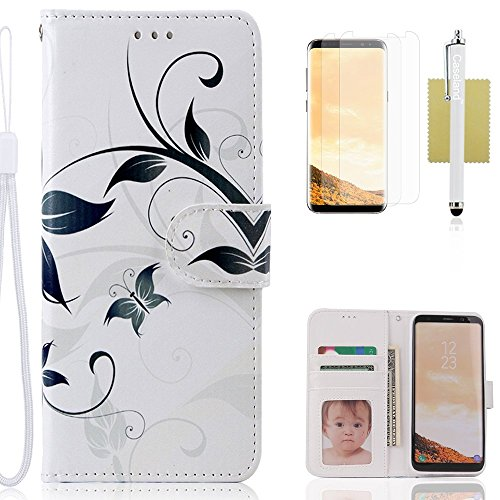 Galaxy S8 Case,CASELAND Wallet Case[Premium Design]PU Leather Flip Case Stand with Sling Case for Samsung Galaxy S8 [Regular] Butterfly White Flower