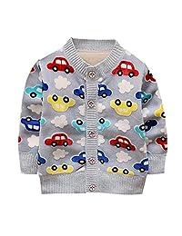 Forartt Infant Toddler Baby Boys Girls Cartoon Car Soft Sweater Cardigan Outerwear