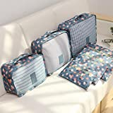 Fairylove 6 Pcs Household Portable Oxford Travel Storage Bags Pouches Set Multi-functional Clothing Sorting Packages Packing Cubes Waterproof Luggage Organizer,Blue