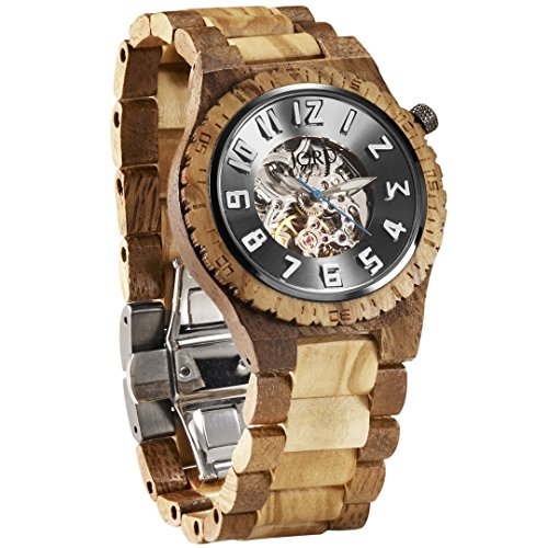 JORD Wooden Watches for Men - Dover Series Skeleton Automatic/Wood Watch Band/Wood Bezel/Self Winding Movement - Includes Wood Watch Box (Acacia & Olive)