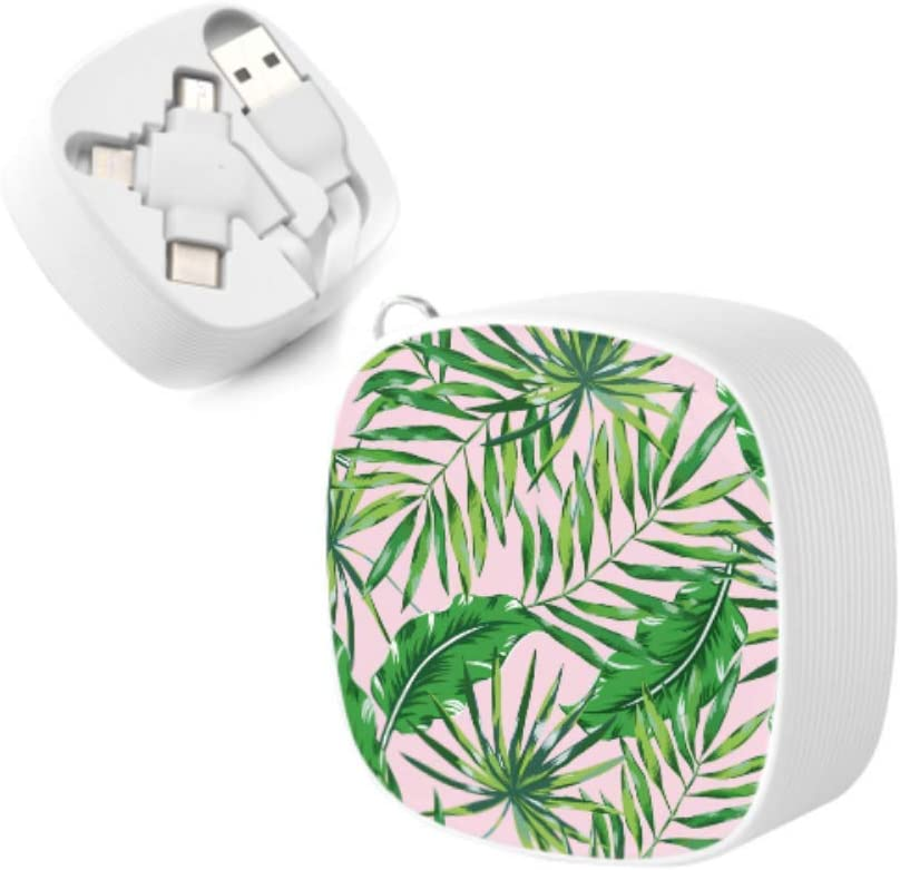 Multi Charging Cable Portable 3 in 1 Hibiscus Flora Burst Orange Surfboards Aloha Tropical Summer Theme USB Cable USB Power Cords for Cell Phone Tablets and More Devices Charging