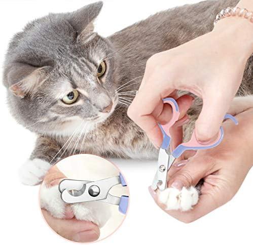 EooCoo Coupe Griffes pour Chat, Coupe-Ongles Professionnels pour Chiot & Petit Animal, Ciseaux Acier Inoxydable, Radian Design à 25 degrés