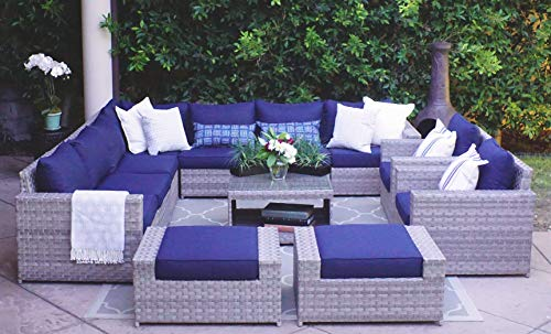 SunHaven 12 Piece Outdoor Furniture Set - for Patio, Deck, Garden and Outdoor Dining - Features Thick Cushions, Gray Wicker Rattan and Weather Resistance (12 Piece Kensington Set) (All Sectional Outdoor Wicker Weather)