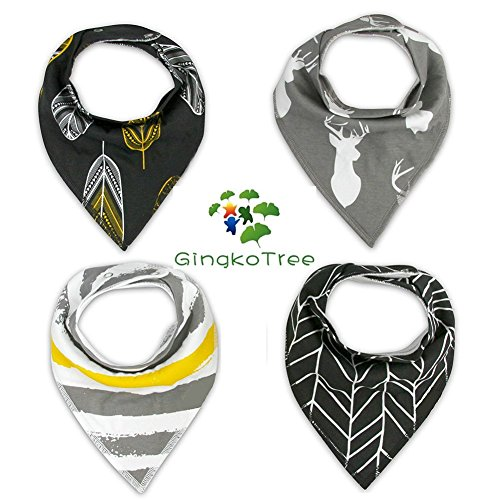 GingkoTree Baberos del Bebé - Paquete de 4 Diseños Pañuelo con Snaps Ajustables, TPU Impermeable Guarnición para niño 0-2 años (Color-4) Color-6