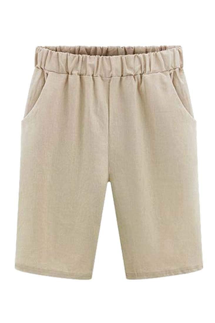 Wofupowga Womens Straight Elastic Waist Comfy Plus Size Bermuda Shorts Pants