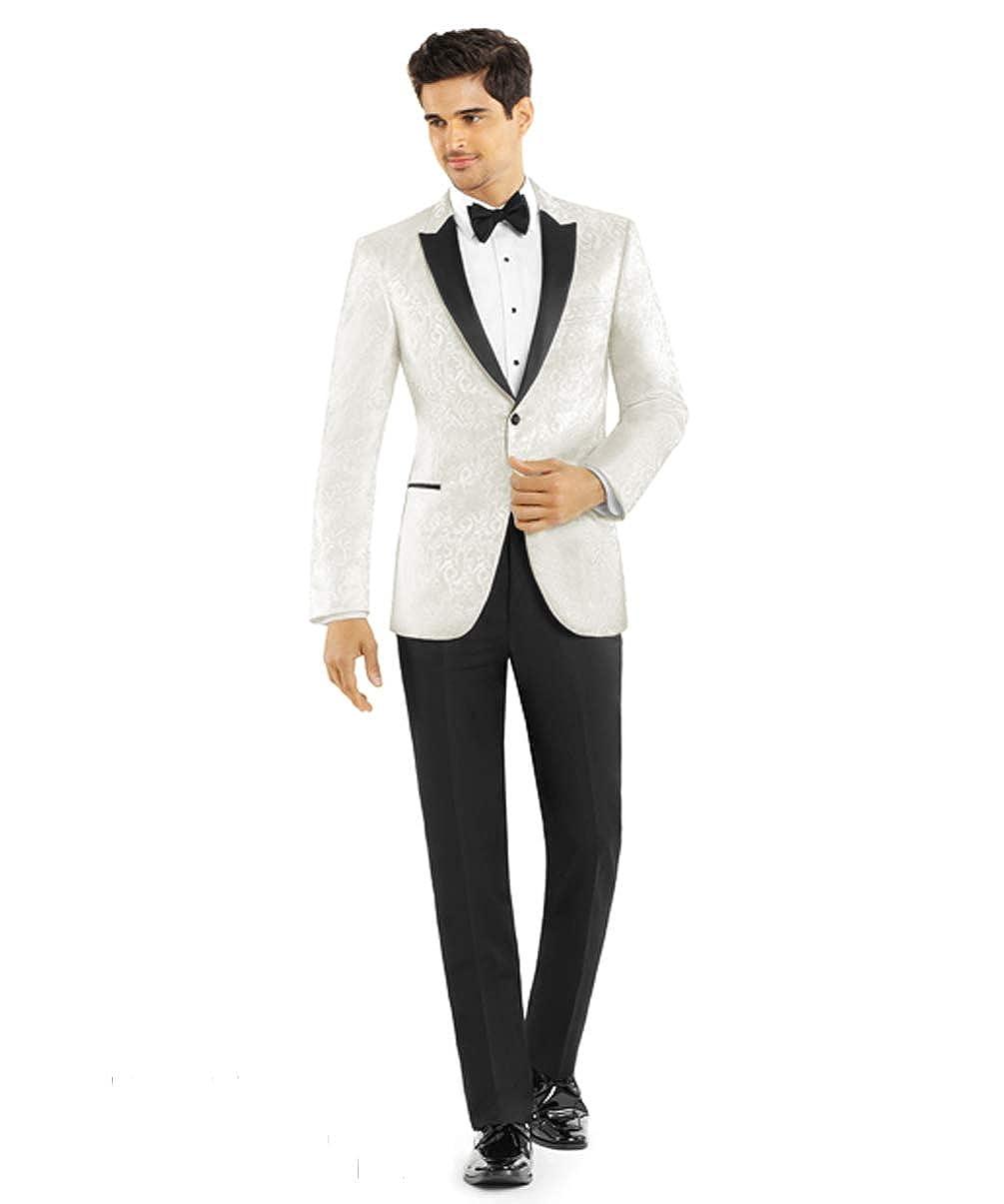 Ivory Paisley Slim Fit Tuxedo Jacket