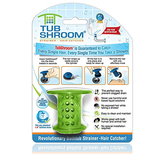 TubShroom the Revolutionary Tub Drain Protector Hair Catcher, Strainer, Snare, Green]()