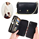 iPhone Xs Max Wallet Case - JAZ Crossbody Chain Satchel Zipper Purse Detachable Magnetic 14 Card Slots Momey Pocket Clutch Leather Wallet Case for Apple iPhone Xs Max Black