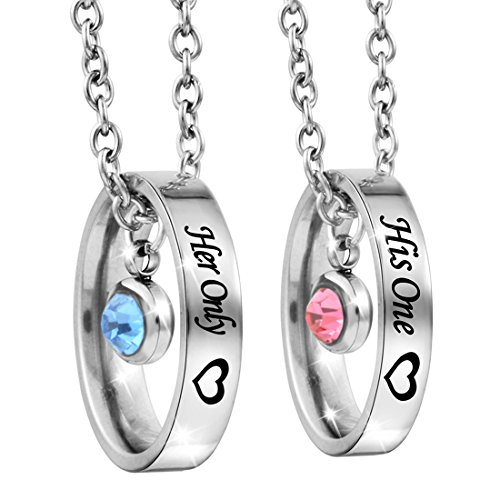 MJartoria Rhinestone His One Her Only Heart Engraved Ring Pendant Couple Necklace Set