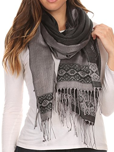 Sakkas 16114 - Seily Long Extra Wide Fringe Paisley Patterned Pashmina Shawl / Scarf - Black / Grey - OS