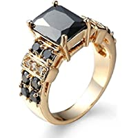 Saengthong 14K Yellow Gold Filled Princess Cut Black Onyx Ring Wedding Jewelry Size 6-12 (8)