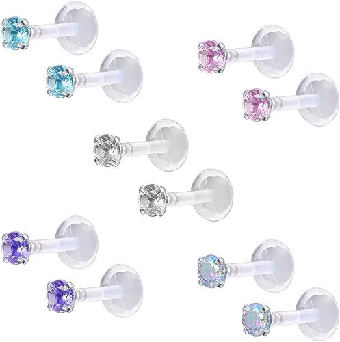 10//16pcs Crystal Gem Labret Monroe Lip Ring Stud BIOFLEX Bar Body Piercing Lot