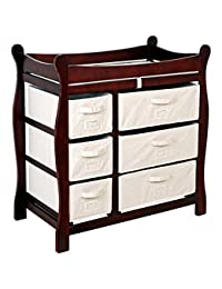 Badger Basket Cherry Sleigh Style Changing Table with 6 Baskets BOBEBE Online Baby Store From New York to Miami and Los Angeles