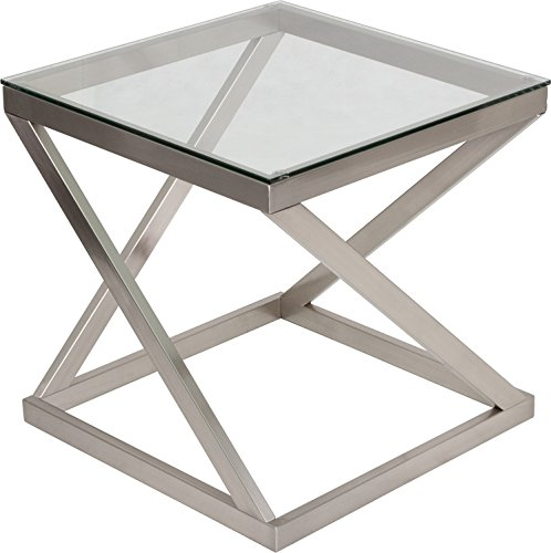 Metro Modern Design Tempered Glass Square End Table with Metal (Metro Metal Desk)