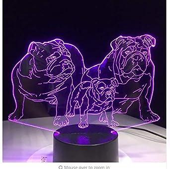 Chien Led Nuit Lumière Mignon Famille Bébé Animal Carlin Bulldog qSUVzpGM