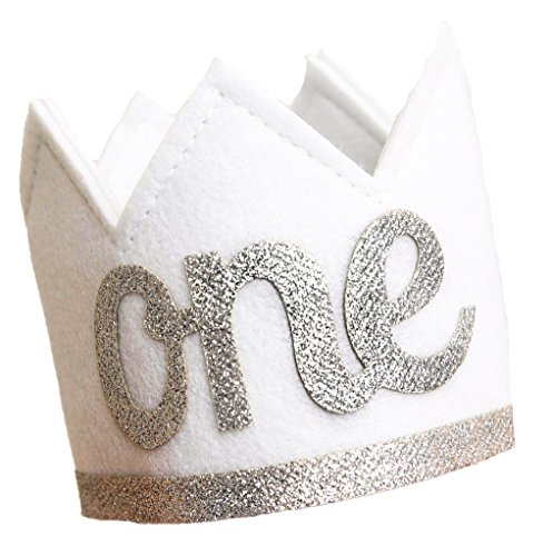 Baby Girl and Boy FIRST BIRTHDAY Sparkly Silver ONE Crown I Am 1 -