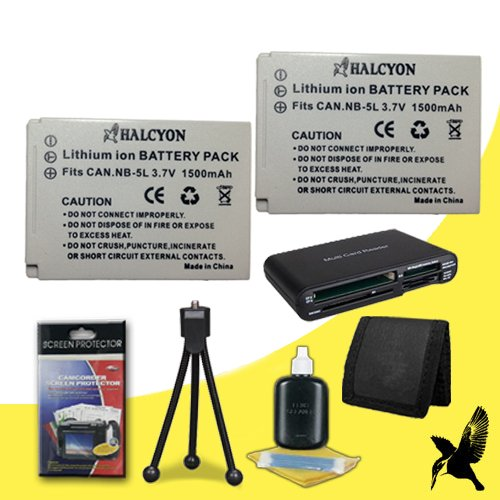 (Two Halcyon 1500 mAH Lithium Ion Replacement NB-5L Battery + Memory Card Wallet + SDHC Card USB Reader + Deluxe Starter Kit for Canon PowerShot ELPH SD950 IS 12.1 MP Digital Camera and Canon NB-5L)