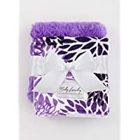 Baby Laundry Patterned Burping Cloth for Boys Girls, Set of 2 - Dahlia/Purple...