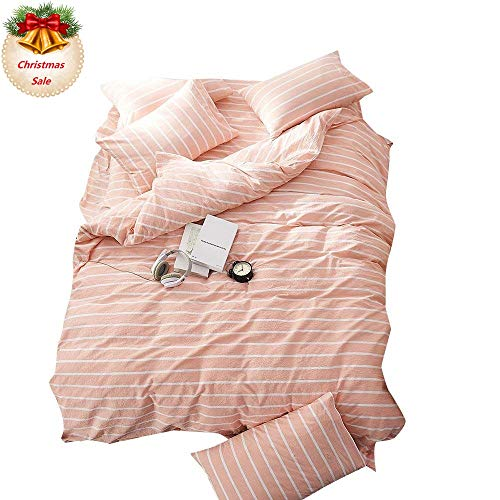 EnjoyBridal Striped Duvet Cover Sets Queen Full, Washed Cotton Bedding Sets Queen for Teens Girls Boys along with 4 Corners, Orange Pink and White produce Comforter Cover 100 % 3 Pieces (Queen, StripeC) Black Friday & Cyber Monday 2018