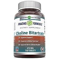 Amazing Formulas Choline Bitartrate - 650 MG, 180 Tablets – Supports Nerve & Brain Health - Promotes Cellular Function - Cognitive Support