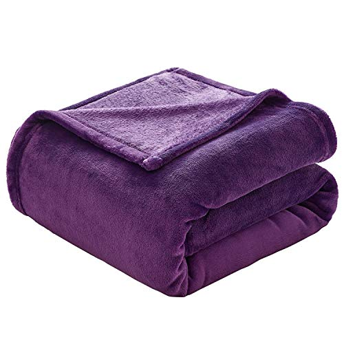 VEEYOO Flannel Fleece Blanket - Extra Soft Warm Lightweight Bed Blanket, All Seasons Anti-Static Couch Blanket Travelling Camping Blanket, Full/Queen Size Purple