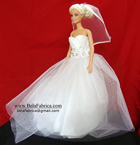 Doll Bride Barbie Wedding Personalized Gift Mini Dress form Miniature Replica Custom Dress Ruched 1/6 Scale Keepsake Dollhouse Unique Special Best Wedding Memory Dress on Mannequin Flower girl present - Ruched Shimmer